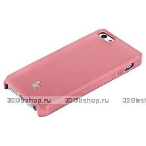 Накладка Jisoncase для iPhone 5s / SE / 5 цвет светло-розовый натуральная кожа