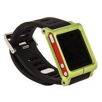 Чехол LunaTik для iPod nano 6 в виде браслета черный ремешок зеленый корпус