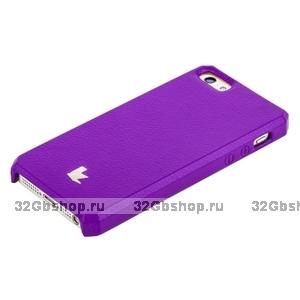 Накладка Jisoncase для iPhone 5s / SE / 5 цвет фиолетовый натуральная кожа