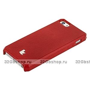 Накладка Jisoncase для iPhone 5s / SE / 5 цвет красный натуральная кожа