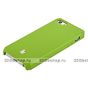 Накладка Jisoncase для iPhone 5s / SE / 5 цвет зеленый натуральная кожа