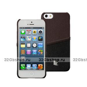 Кожаная накладка JisonCase для iPhone 5s / SE / 5 - JisonCase Fashion Strip Case Black&Brown