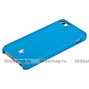 Накладка Jisoncase для iPhone 5s / SE / 5 цвет голубой натуральная кожа