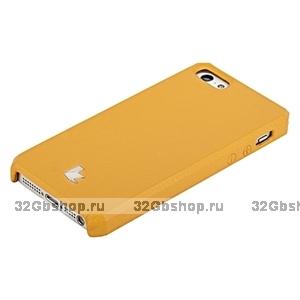 Накладка Jisoncase для iPhone 5s / SE / 5 цвет оранжевый натуральная кожа
