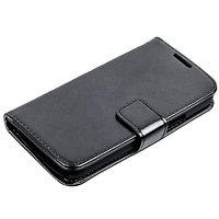 Чехол книга для Samsung Galaxy S4 Mini черный с отсеком для хранения карт