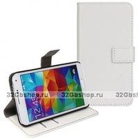 Чехол книга для Samsung Galaxy S4 Mini Белый с отсеком для хранения карт