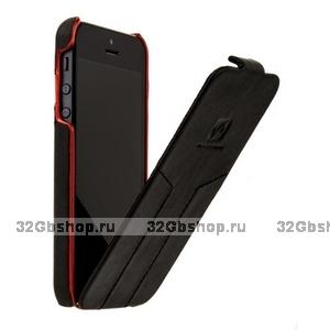 Кожаный чехол HOCO для iPhone 5s / SE / 5 - Mixed color Leather Case O Black&Red