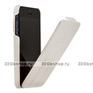 Кожаный чехол HOCO для iPhone 5s / SE / 5 - Mixed color Leather Case O White&Red