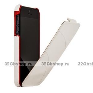 Кожаный чехол HOCO для iPhone 5s / SE / 5 - HOCO Mixed color Leather Case C White&Red