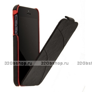 Кожаный чехол HOCO для iPhone 5s / SE / 5 - Mixed color Leather Case C Black&Red