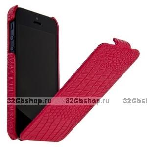 Кожаный чехол Borofone для iPhone 5s / SE / 5 - Crocodile flip Leather case Rose red