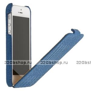 Кожаный чехол Borofone для iPhone 5s / SE / 5 синий - Crocodile flip Leather case Blue