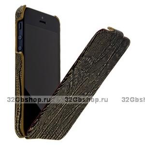 Кожаный чехол Borofone для iPhone 5s / SE / 5 - Borofone Lizard flip Leather Case Black