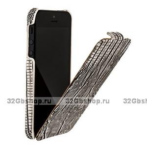 Кожаный чехол Borofone для iPhone 5s / SE / 5 - Borofone Lizard flip Leather Case Silver