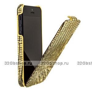 Кожаный чехол Borofone для iPhone 5 / 5s / SE - Borofone Lizard flip Leather Case Gold