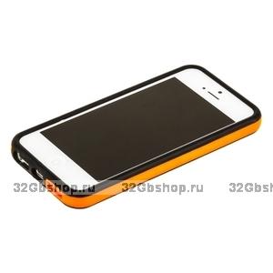 Бампер для iPhone 5 / 5s / SE черный с оранжевой полосой