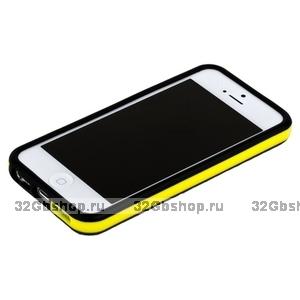 Бампер для iPhone 5 / 5s / SE черный с желтой полосой