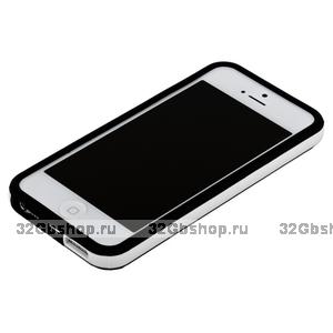 Бампер для iPhone 5 / 5s / SE черный с белой полосой