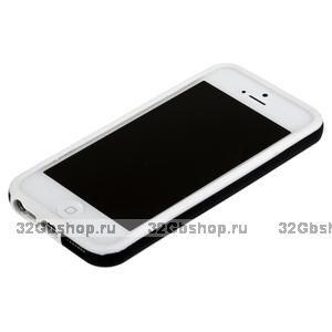 Бампер для iPhone 5 / 5s / SE белый с черной полосой