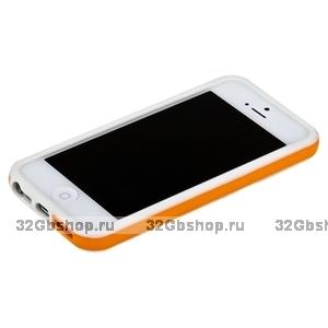 Бампер для iPhone 5 / 5s / SE белый с оранжевой полосой
