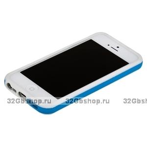 Бампер для iPhone 5 / 5s / SE белый с голубой полосой