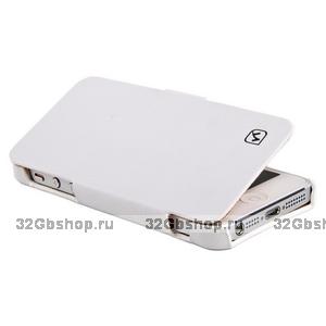 Кожаный чехол HOCO для iPhone 5s / SE / 5 белый - Duke folder Leather Case White