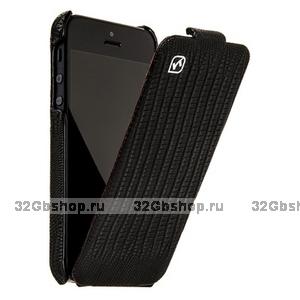 Кожаный чехол для iPhone 5 / 5s / SE  HOCO Lizard pattern Leather Case Black
