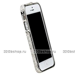Бампер металлический для iPhone 5 / 5s / SE серебристый со стразами
