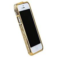 Бампер металлический для iPhone 5 / 5s / SE золотистый со стразами