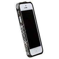 Бампер металлический для iPhone 5 / 5s / SE черный со стразами