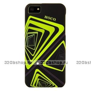 Чехол-накладка HOCO Time Tunnel для iPhone 5 / 5s / SE черная с желтыми треугольниками