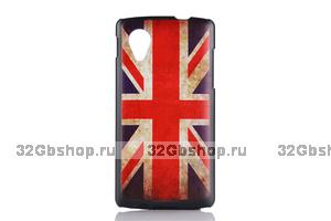 Черный пластиковый чехол накладка для Google Nexus 5 Флаг Великобритании