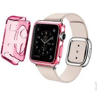 Розовый прозрачный тонкий силиконовый чехол для Apple Watch 42мм