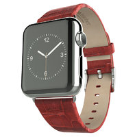 Кожаный ремешок Hoco для Apple Watch 42mm красный - Hoco Art Series Bamboo Real Leather Watchband Red