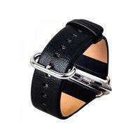 Черный кожаный ремешок с классической пряжкой для Apple Watch 38mm - iBacks Premium Leather Watchband Black