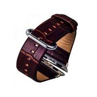 Коричневый кожаный ремешок для Apple Watch 38mm - iBacks Croco Premium Leather Watchband Brown