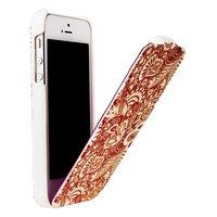 Чехол Fashion Leaves Pattern White&Red для iPhone 5 / 5s / SE белый с росписью красные узоры