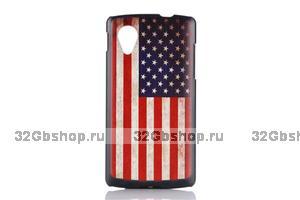 Черный пластиковый чехол накладка для Google Nexus 5 Флаг США
