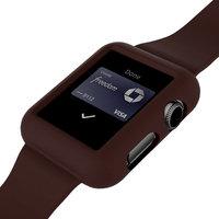 Коричневый силиконовый защитный чехол ремешок для Apple Watch 42мм