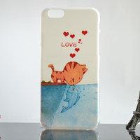 """Пластиковый чехол накладка белая для iPhone 6 / 6s (4.7"""") с рисунком КОТ и  РЫБКА"""
