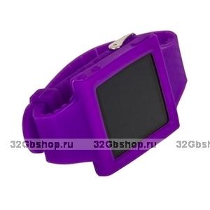 Силиконовый чехол для iPod nano 6 браслет с металлической застежкой фиолетовый