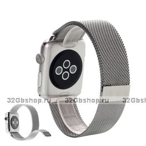 Магнитный стальной браслет iBacks для Apple Watch 38mm ремешок миланское плетение