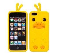 Силиконовый чехол накладка Silicone Duck Case для iPhone 5c желтый утенок