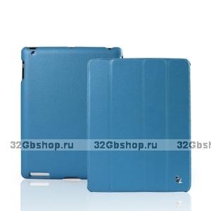 Кожаный чехол Jisoncase для iPad 4 / 3 / 2 голубой