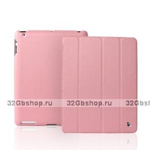 Кожаный чехол Jisoncase для iPad 4 / 3 / 2 розовый