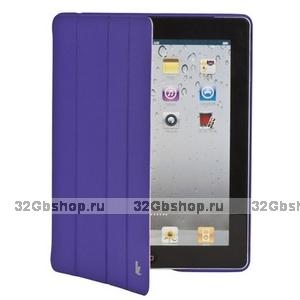 Кожаный чехол Jisoncase Executive для iPad 4 / 3 / 2 фиолетовый