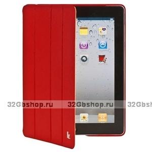 Кожаный чехол Jisoncase Executive для iPad 4 / 3 / 2 красный