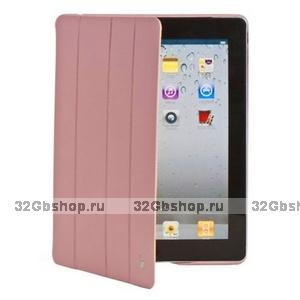 Кожаный чехол Jisoncase Executive для iPad 4 / 3 / 2 светло-розовый