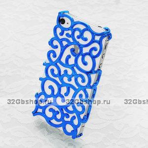 Накладка с узором Chrome Flower blue для iPhone 5 / 5s / SE синий