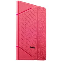 Розовый чехол книга с тесненнием iBacks VV Structure Leather Case для iPad mini 3 /2 - VV Structure Leather Case  Venezia Pink